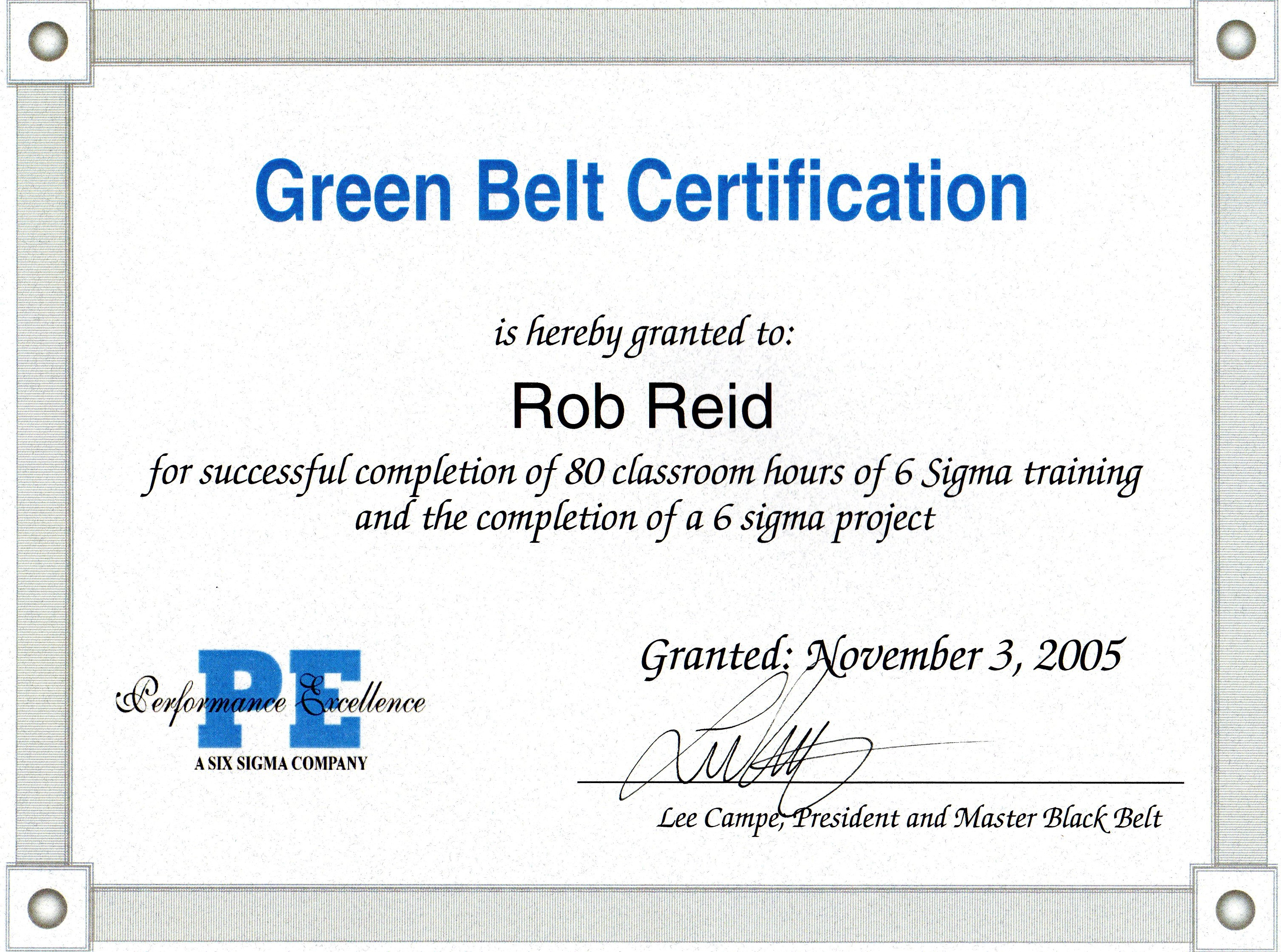 Resume sql rob six sigma green belt certificate november 2005 1betcityfo Images